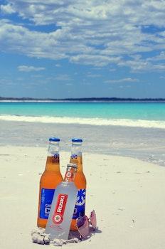 Free stock photo of beach, sunglasses, sand, beer