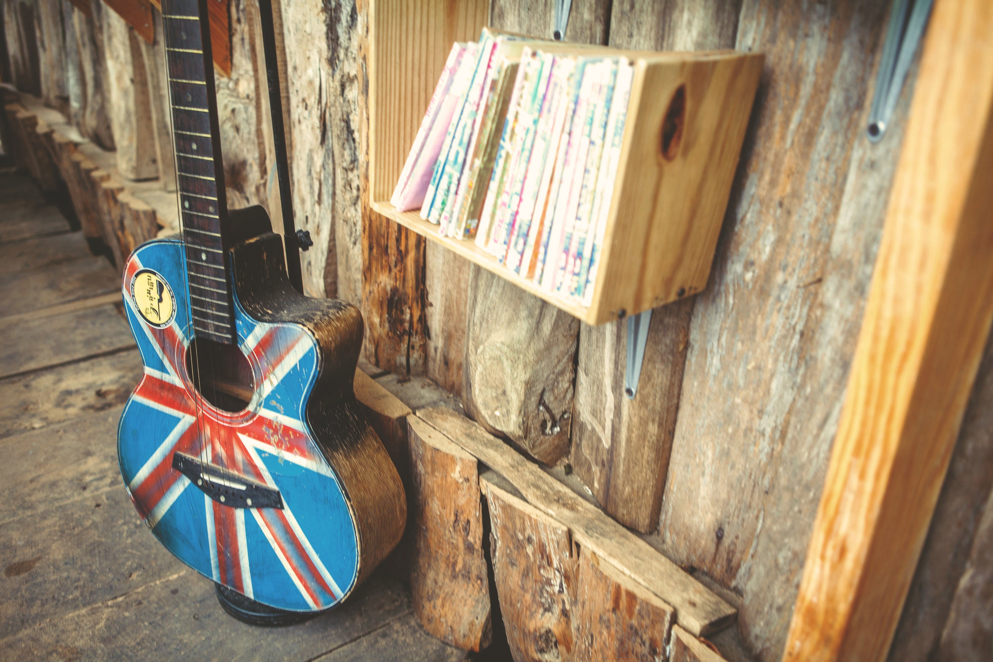 Free stock photo of acoustic guitar, canada, canadian flag, design
