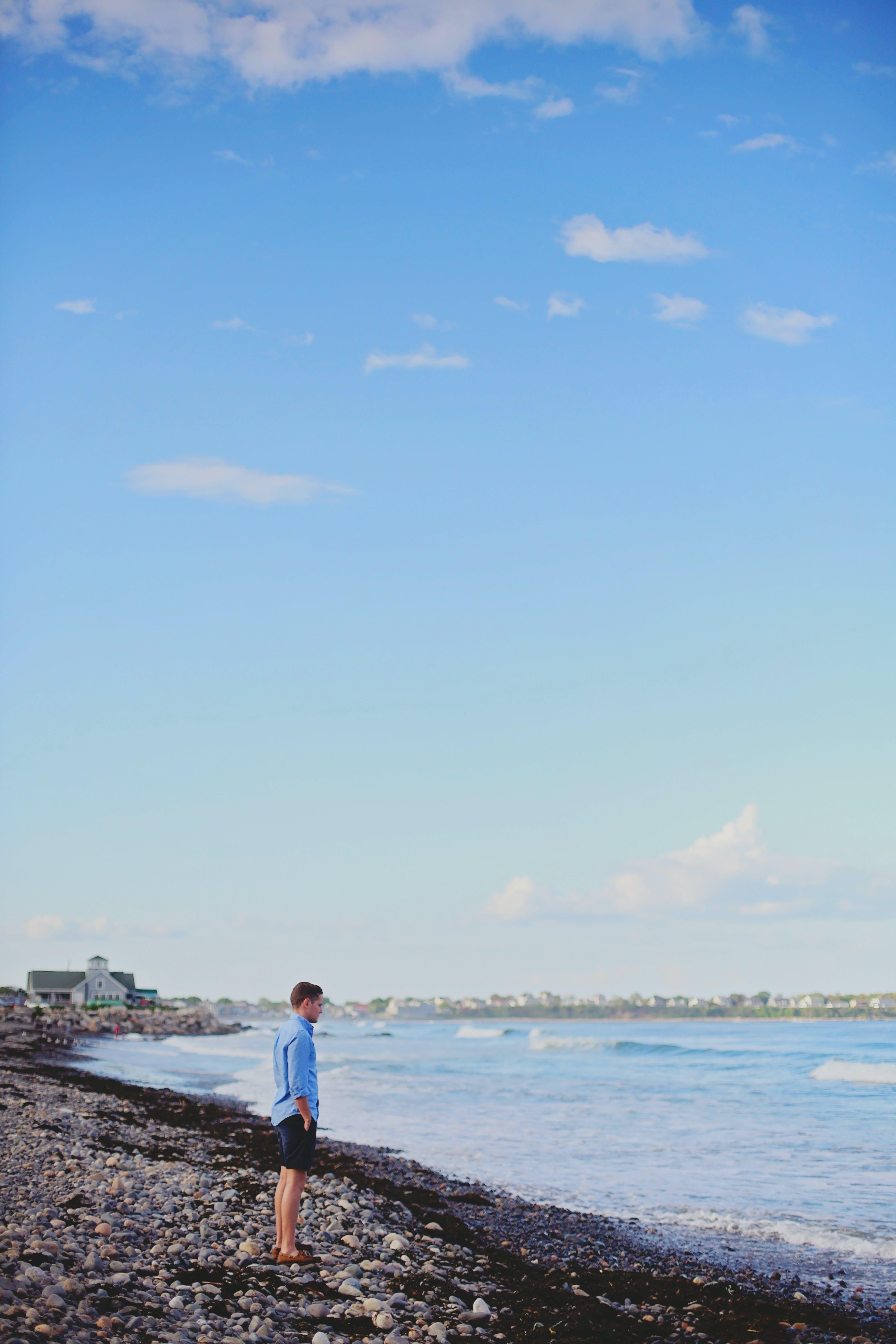 beach, blue sky, clouds