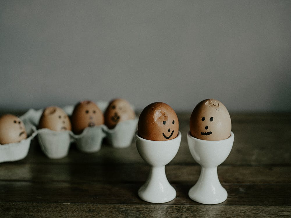 Eggs Placed On Ceramic Stand