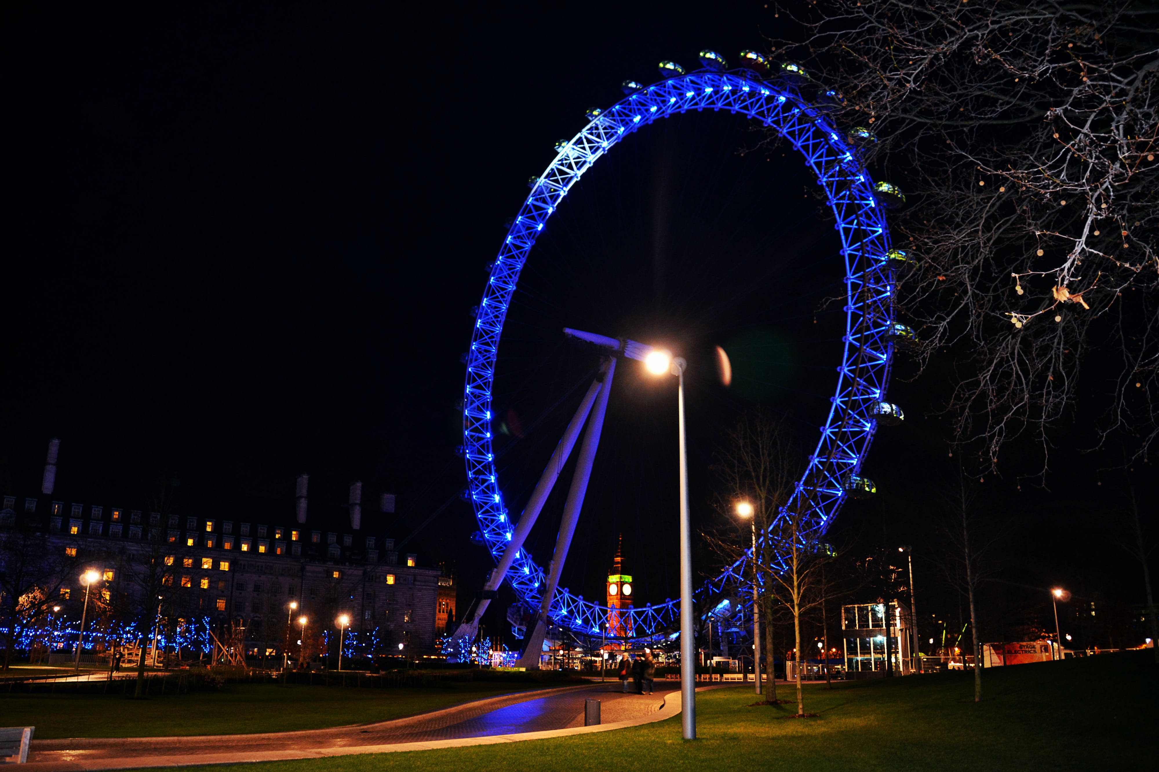 Free stock photo of giant ferris wheel, London Eye at night, London UK, Millennium Wheel
