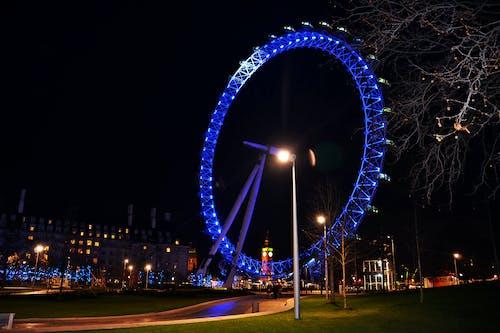 Kostenloses Stock Foto zu das london eye, london eye in der nacht, london, vereinigtes königreich, millennium wheel