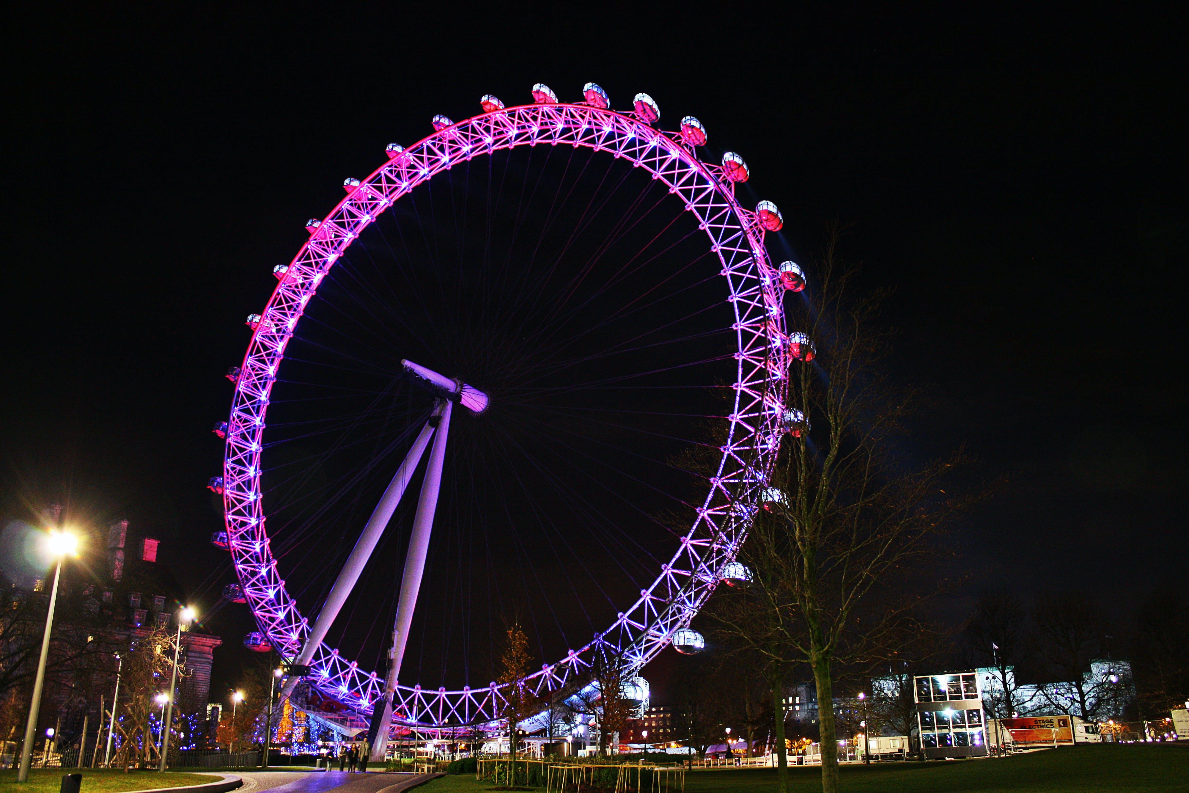 Free stock photo of London UK, Millennium Wheel, giant ferris wheel, The London Eye at night