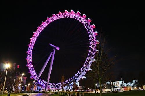 Kostenloses Stock Foto zu das london eye in der nacht, london, vereinigtes königreich, millennium wheel, riesenrad