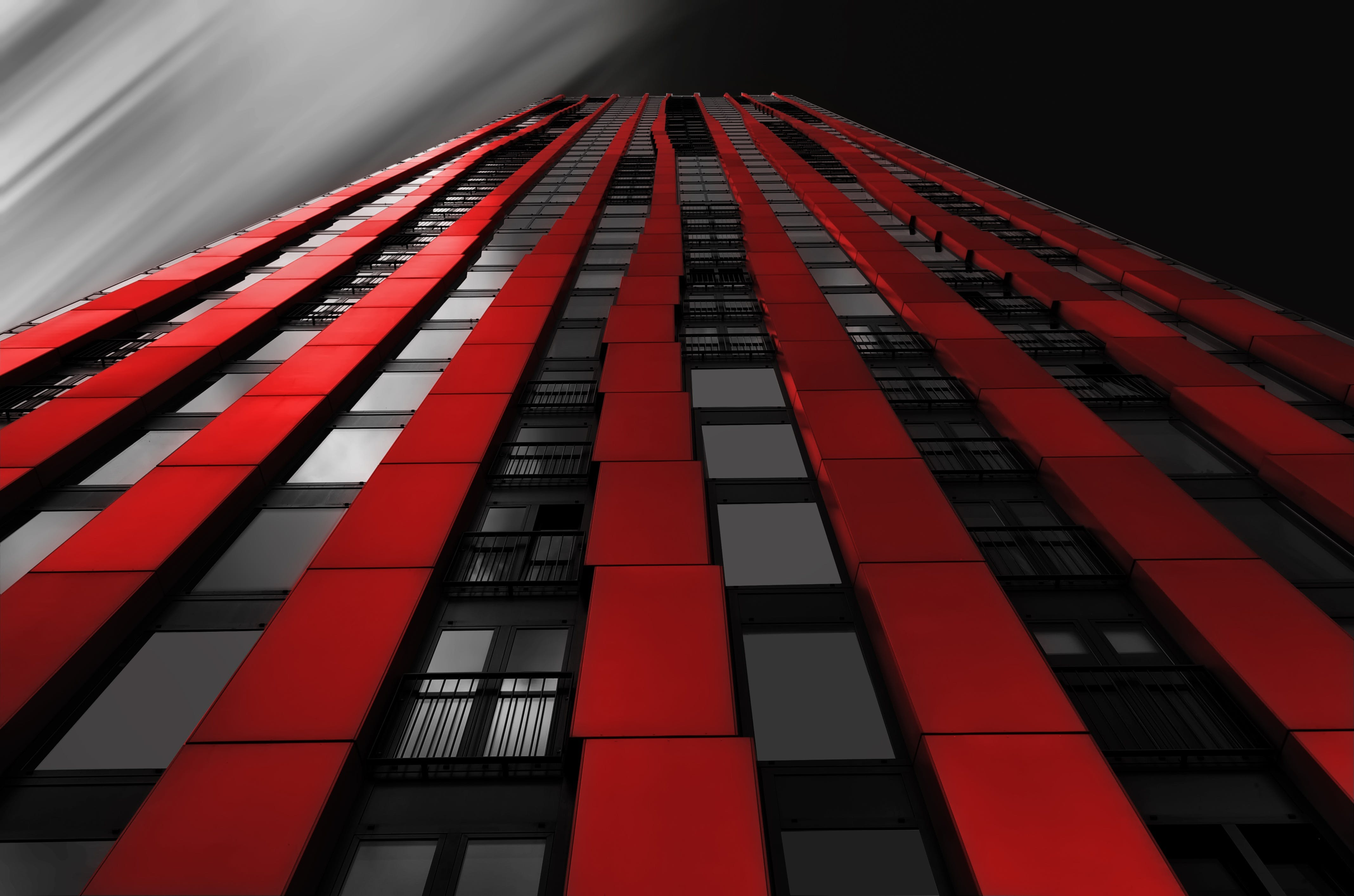 Red Black Wall Building