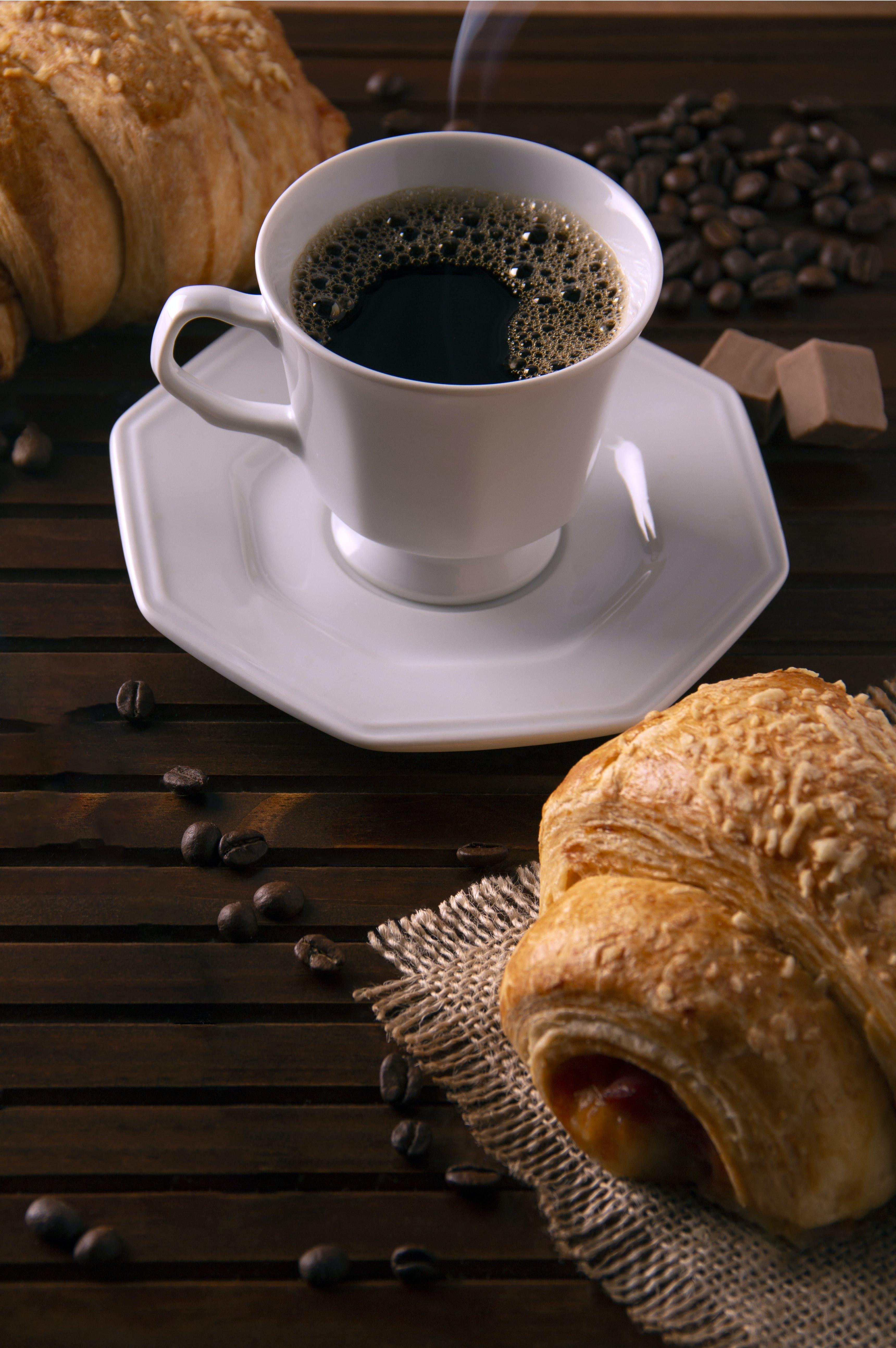 คลังภาพถ่ายฟรี ของ กาแฟ, ครัวซองค์, คาเฟอีน, ดื่ม