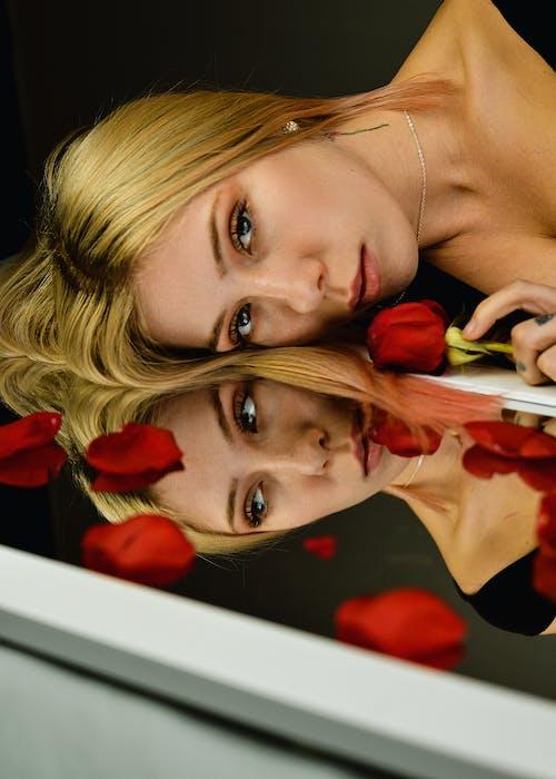 反射, 女人, 漂亮, 玫瑰 的 免費圖庫相片