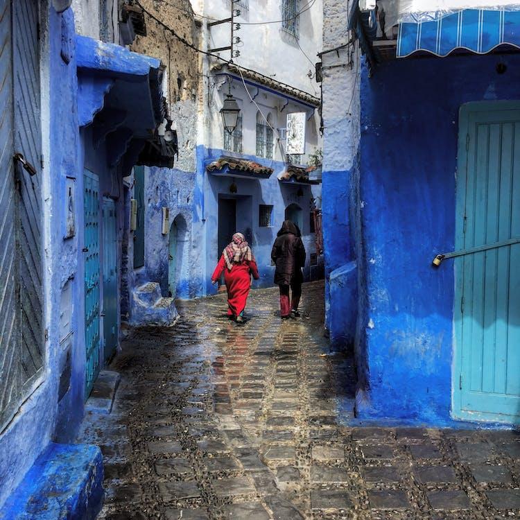 arkitektur, blå, brostensgade
