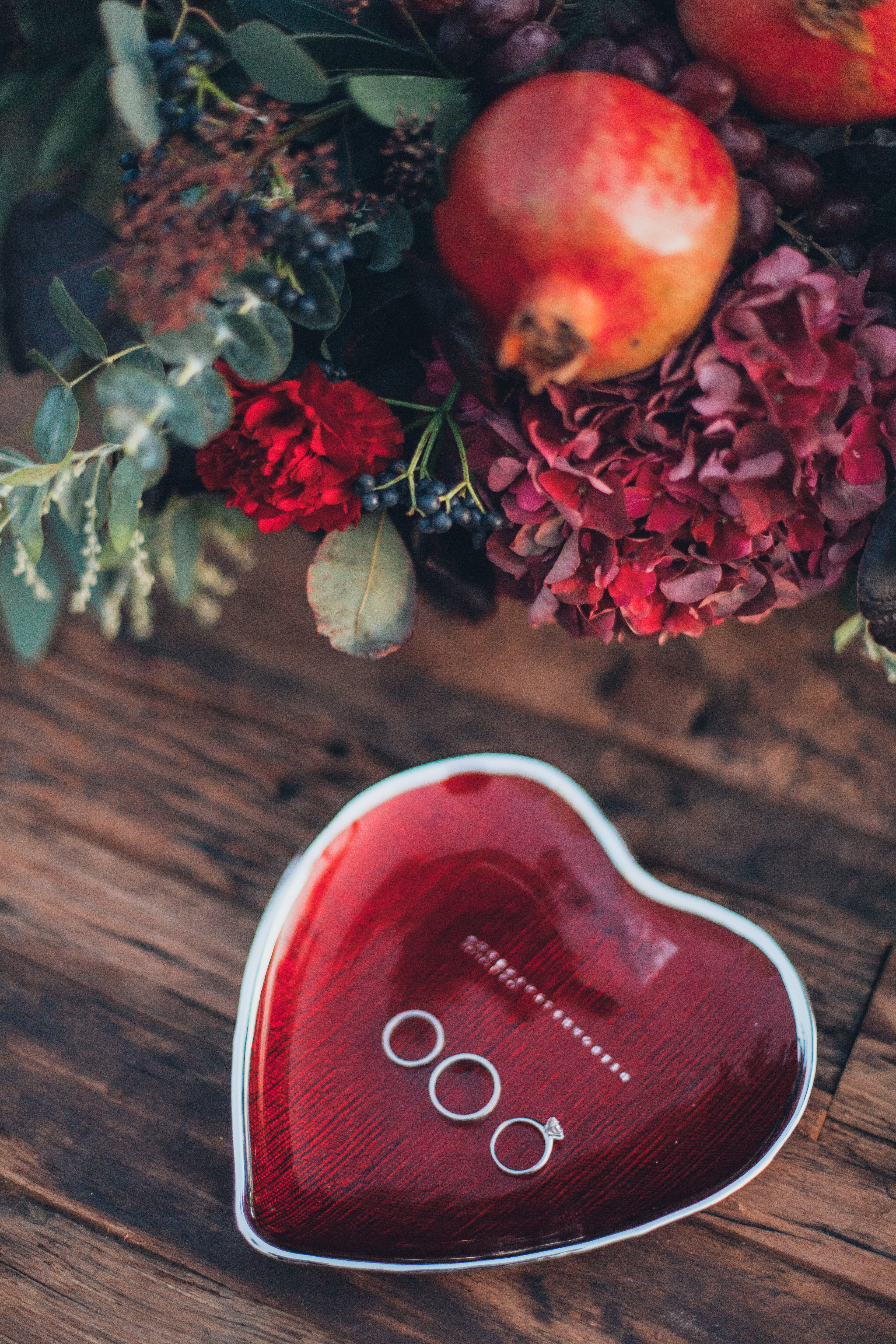 Heart-shaped Red and White Ceramic Saucer