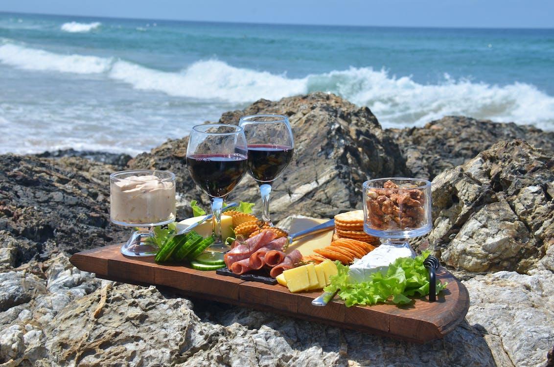 cheese platter, food, waves