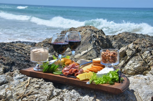 Free stock photo of food, waves, wine, cheese platter
