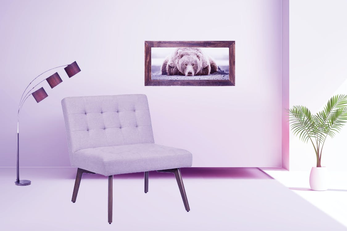 leather sofa, pink background