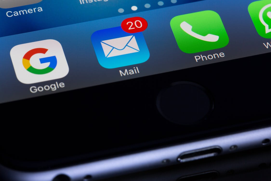 Mail icon on phone for email marketing