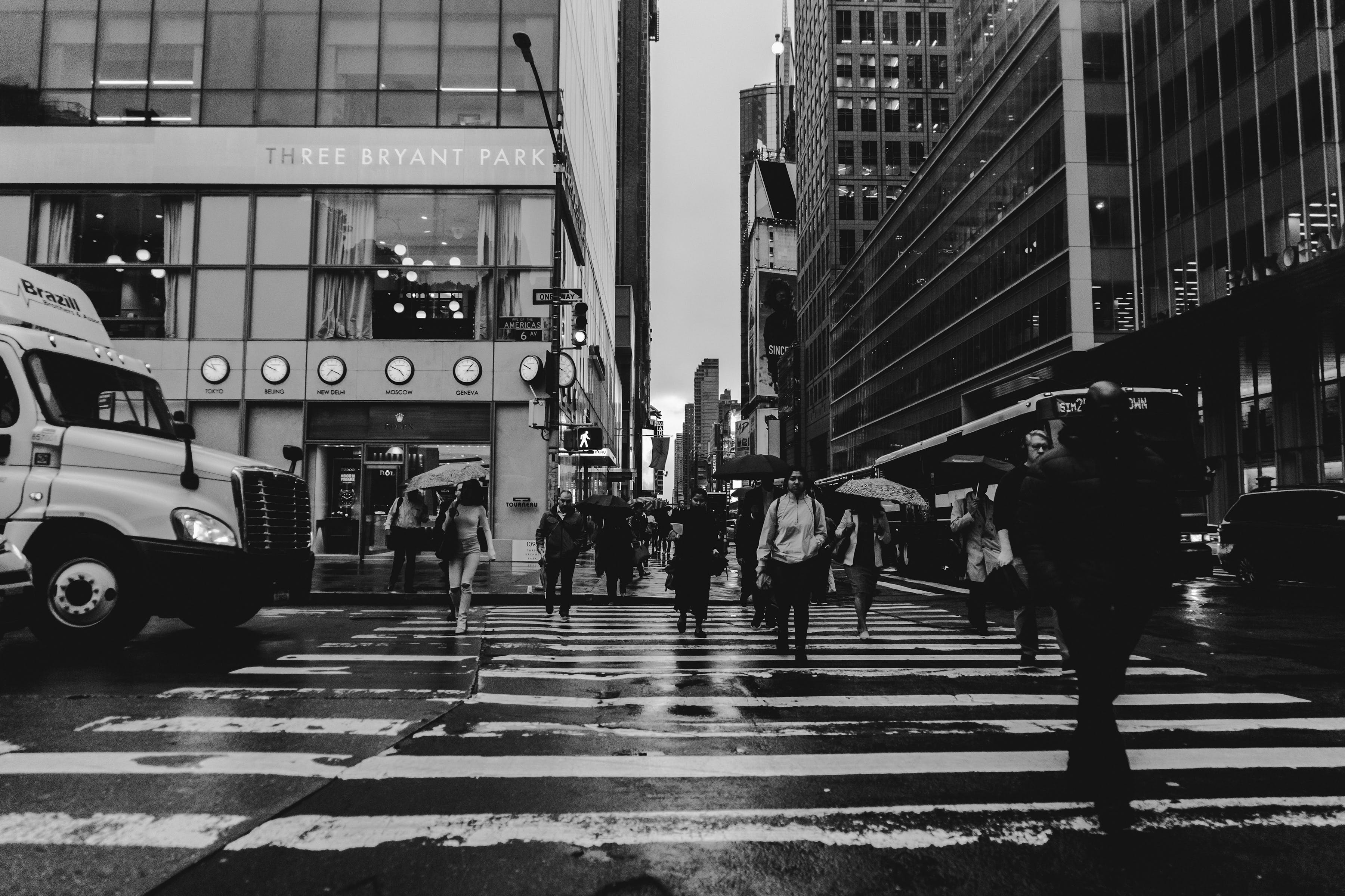 Free stock photo of black and white, city, crossing, new york city