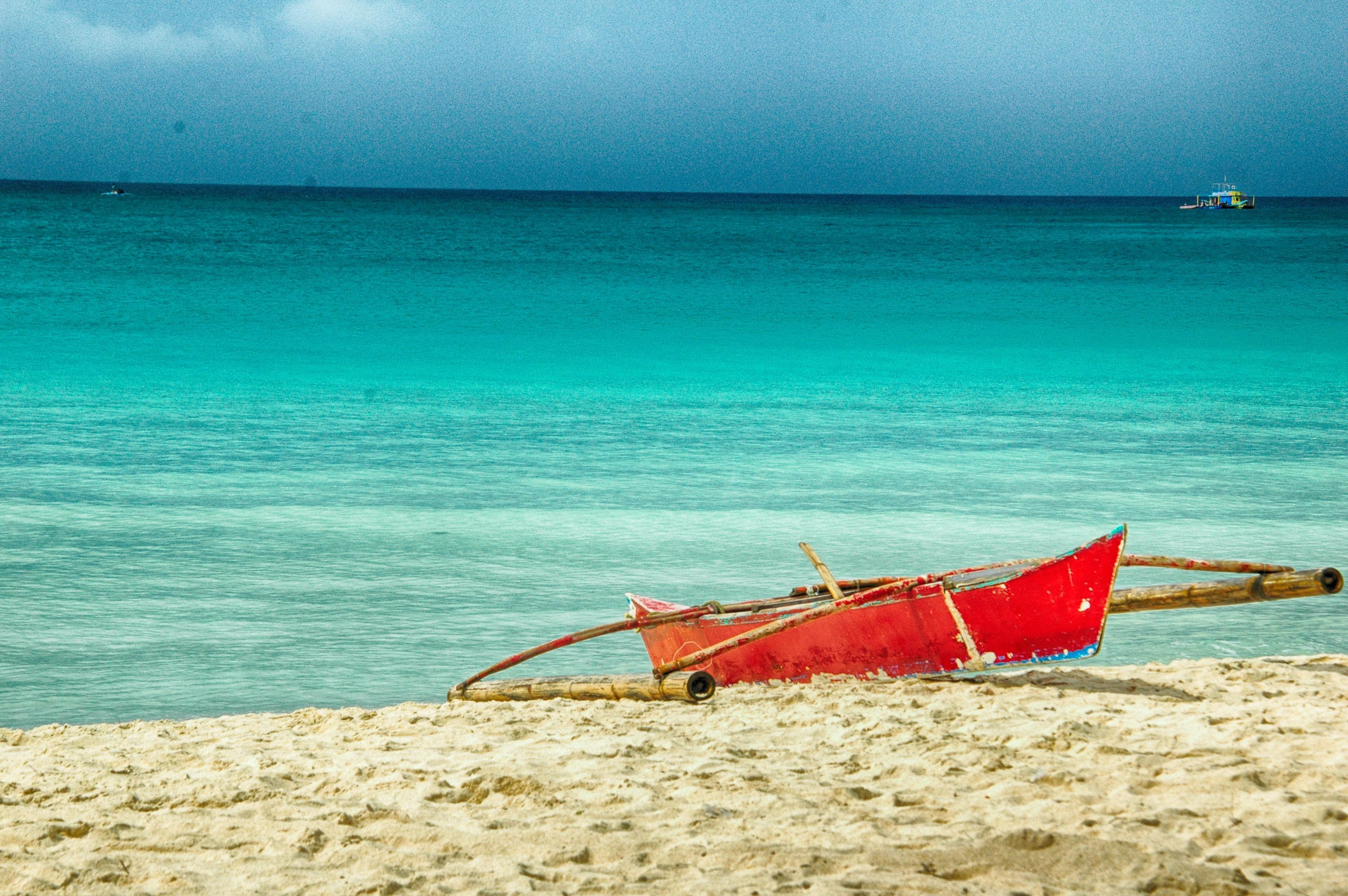 Free stock photo of beach, boat, red boat, sea