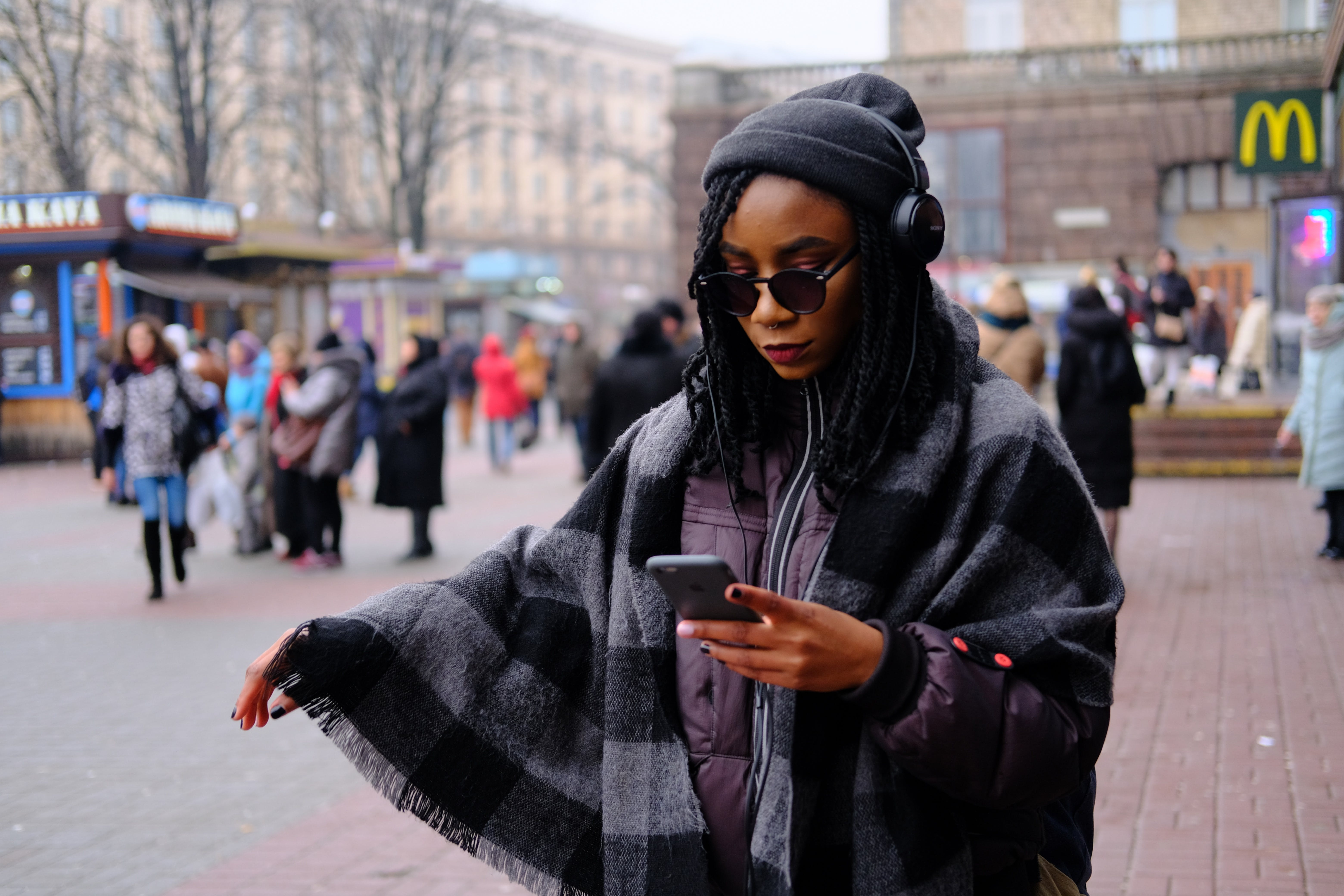 Free stock photo of african woman, cell phone, from the, listening
