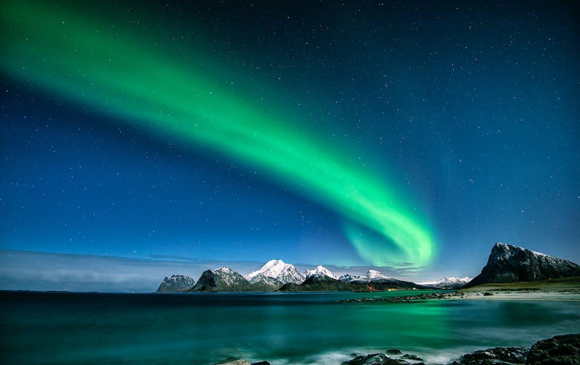 abend, arktis, aurora polaris