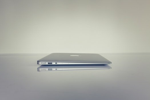 Silver Electronic Device on a Surface