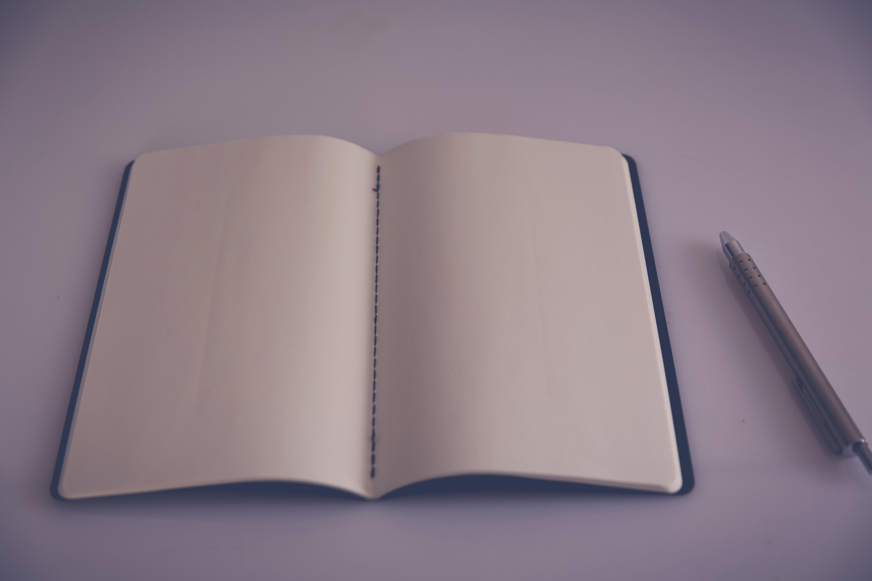 ballpen, blank page, book
