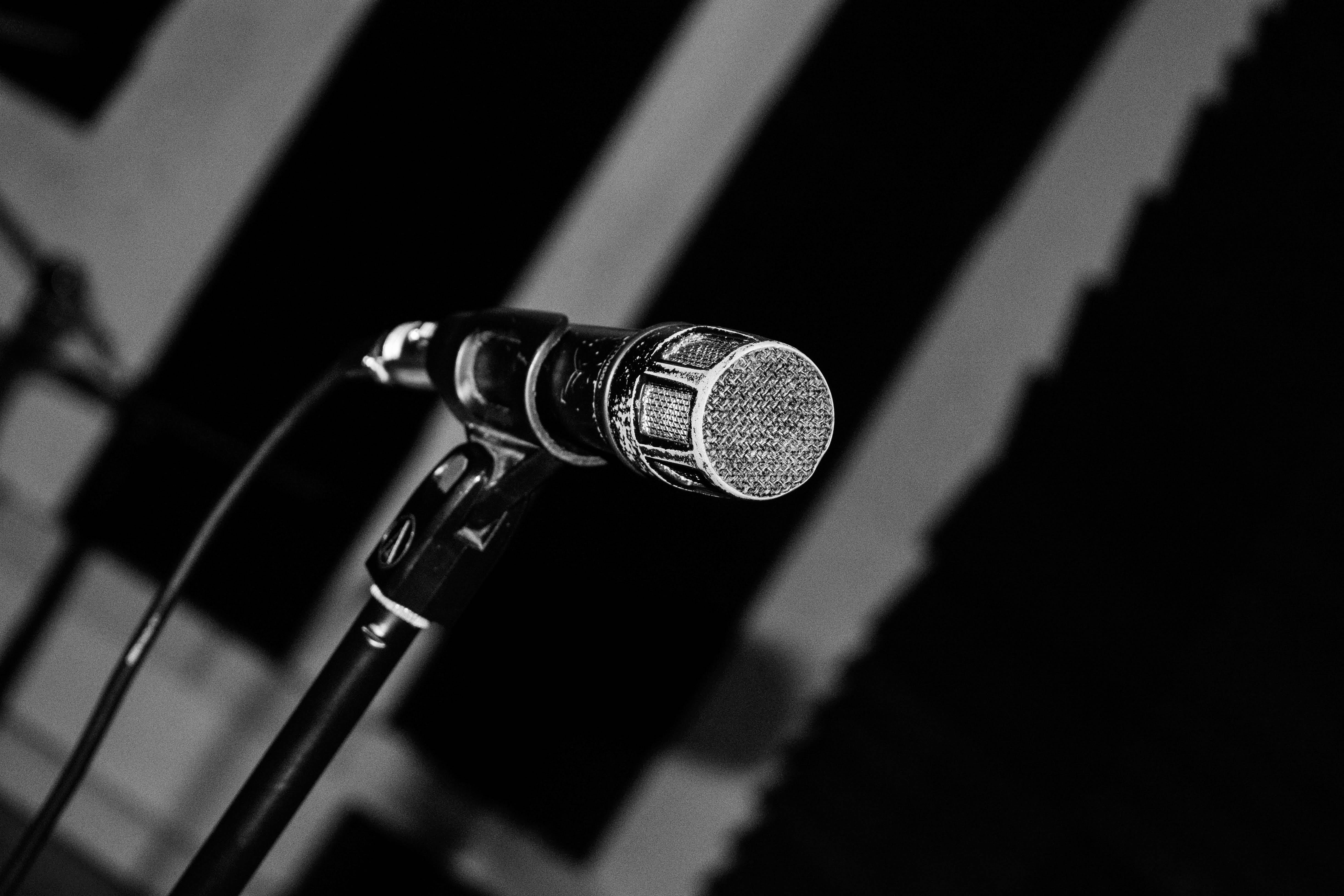 Free stock photo of audio, black and white, mic, microphone