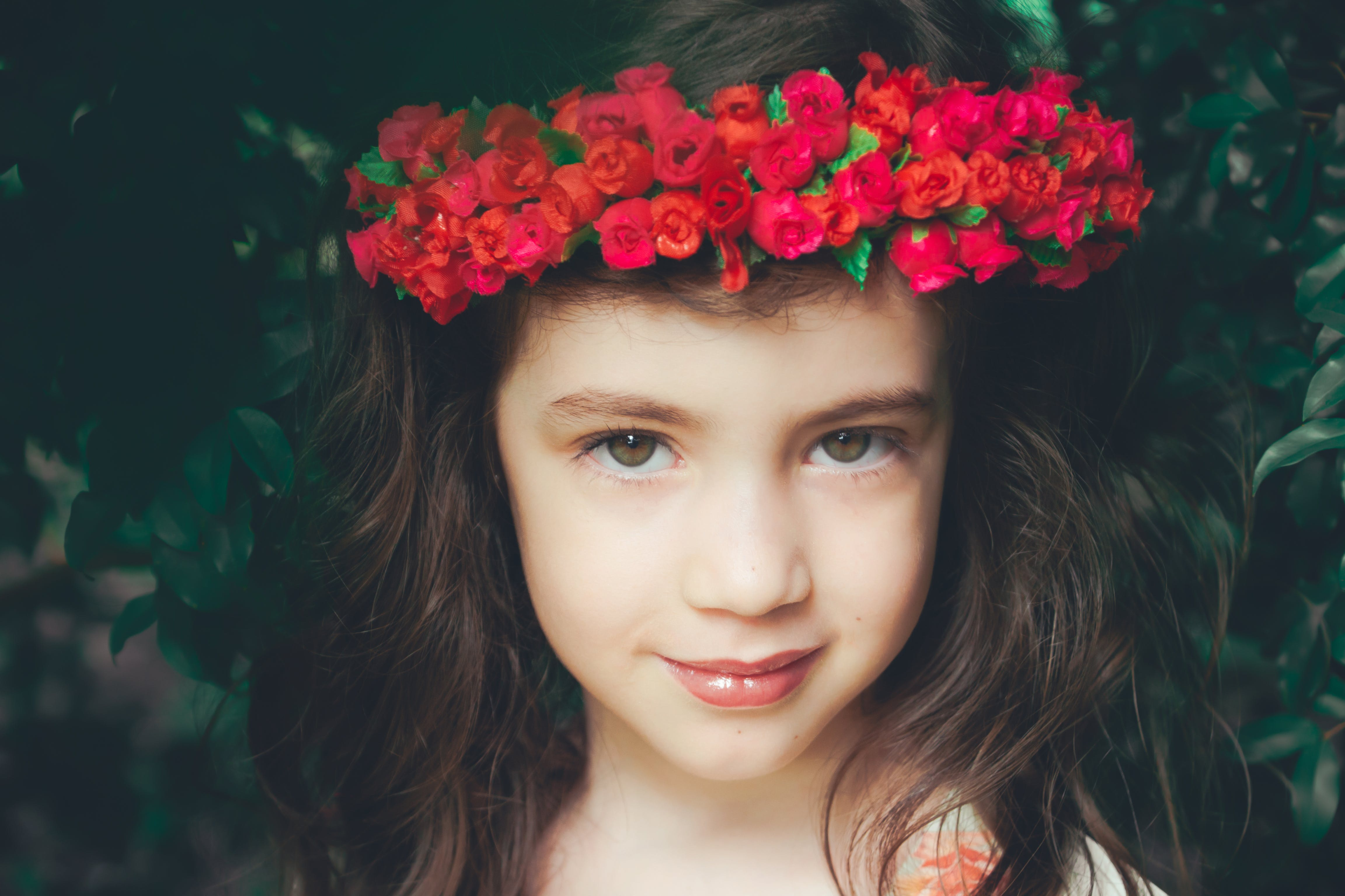 Girl Wearing Red Flower Headband