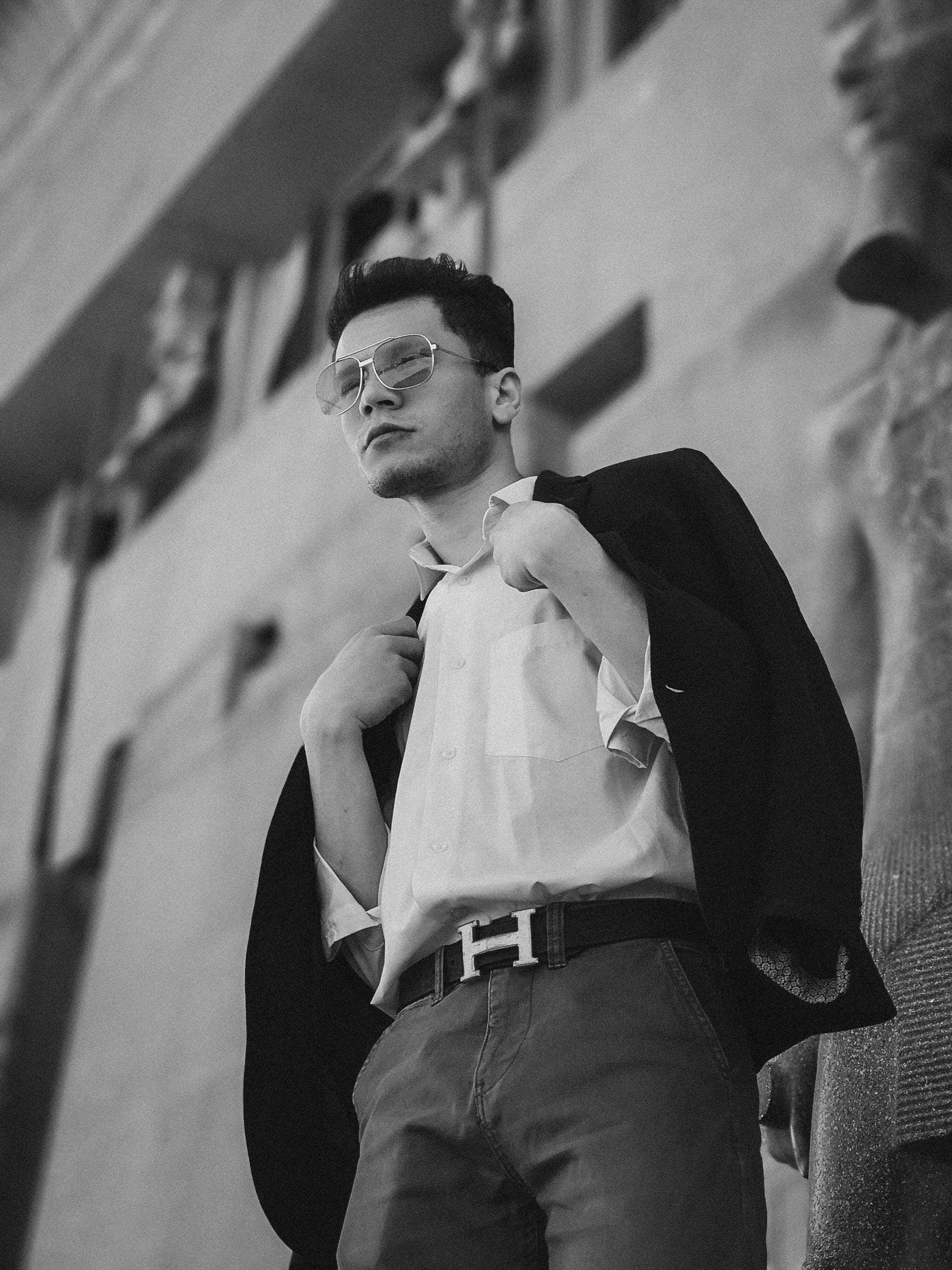 Monochrome Photo Of Man Wearing Sunglasses