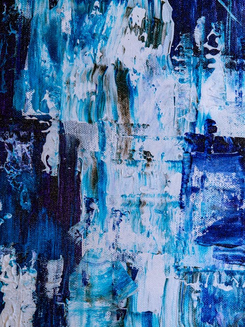 White, Blue, and Teal Abstract Painting
