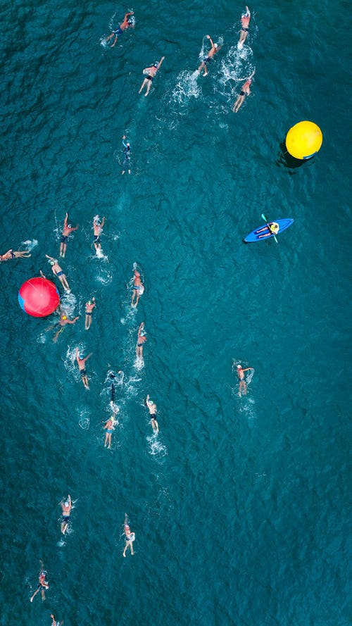 People Swimming on Sea