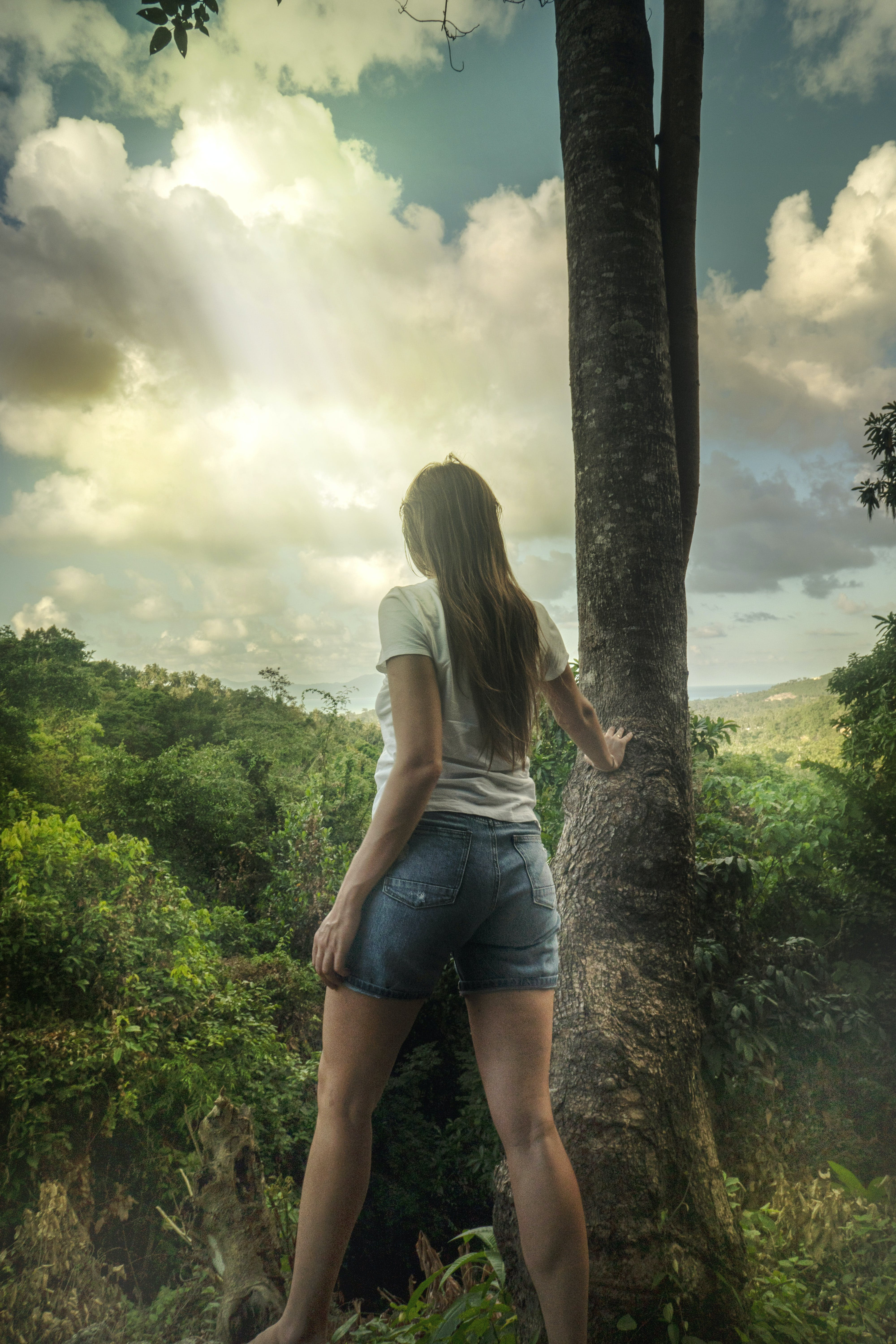 Woman in Gray T-shirt Leaning on Gray Tree Under Cloudy Sky