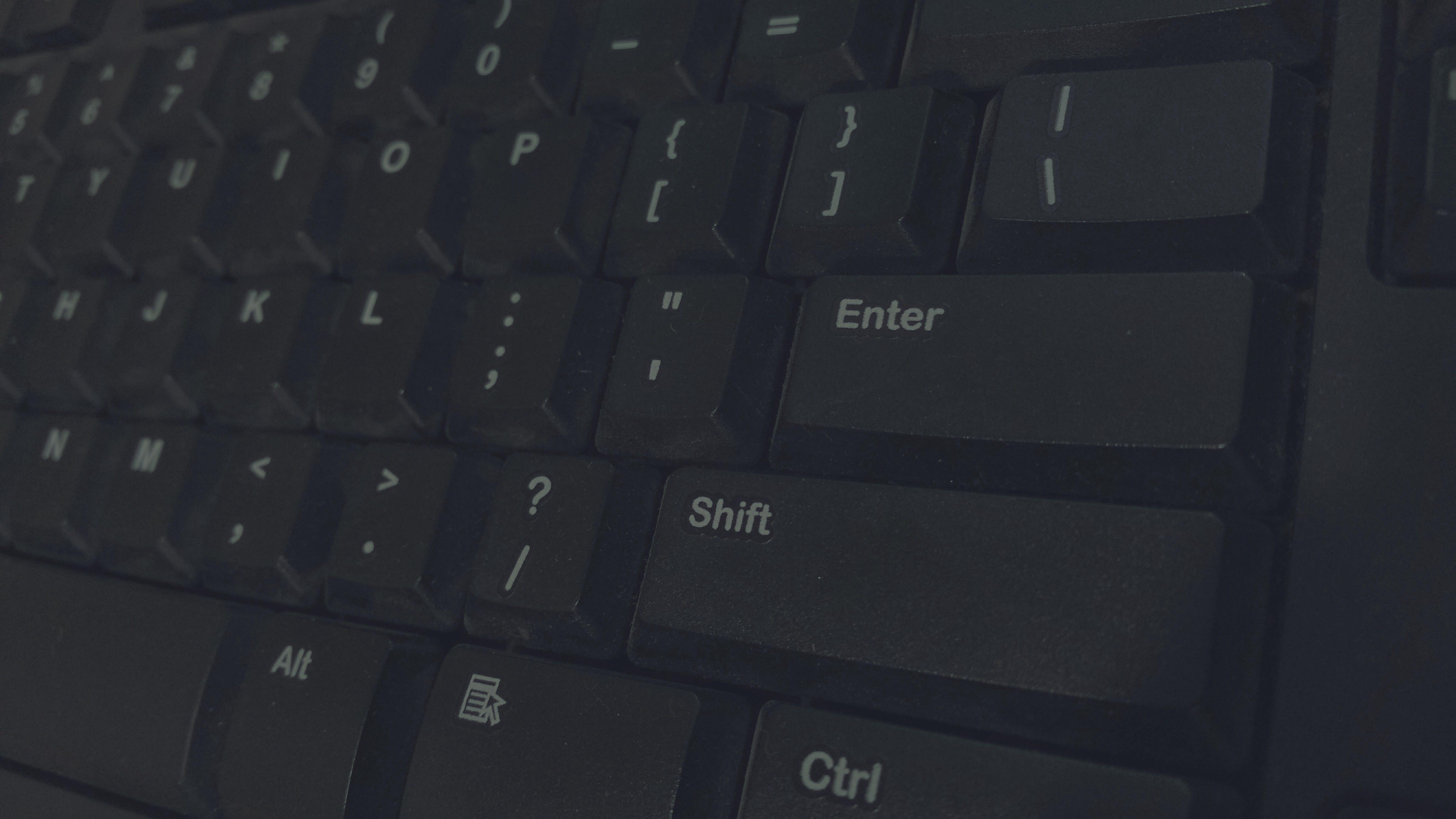 Black Computer Keyboard Closeup Photography
