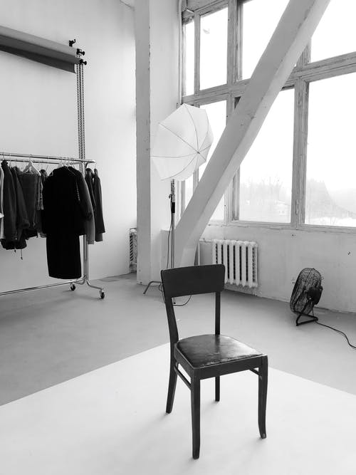 Grayscale Photography of Empty Chair
