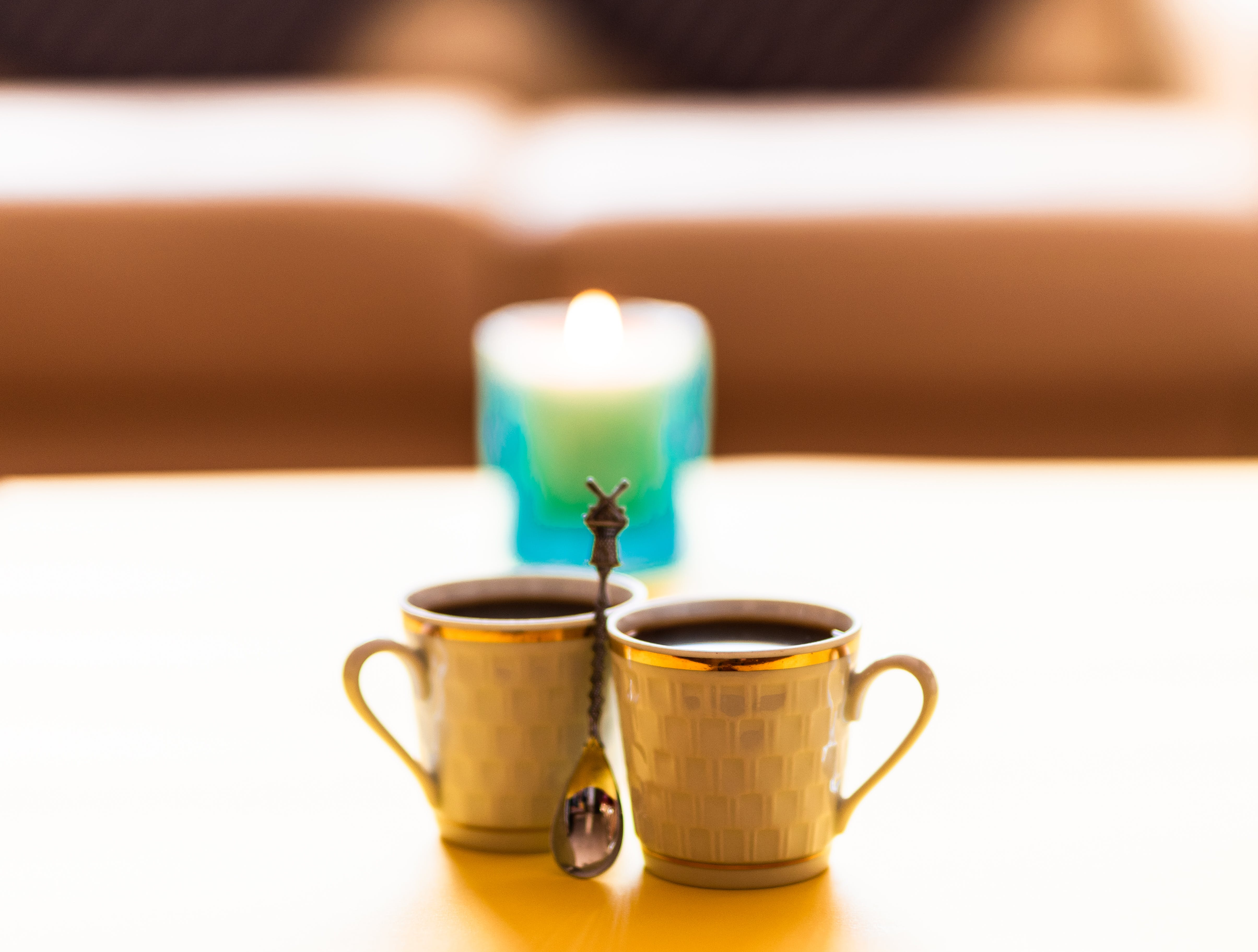 Free stock photo of black coffee, candle, coffee, coffee for two