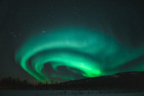 Glowing Green Lights on Black Sky