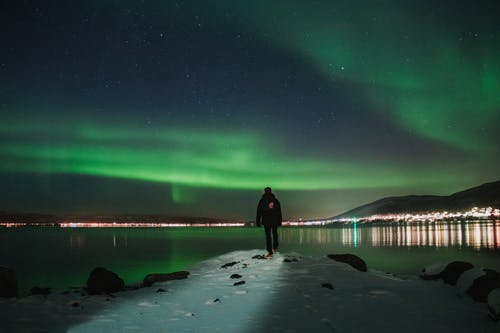 Man Standing on Snow during Northern Lights