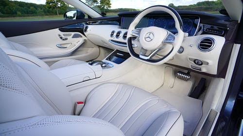 White Mercedes Benz Interior Design