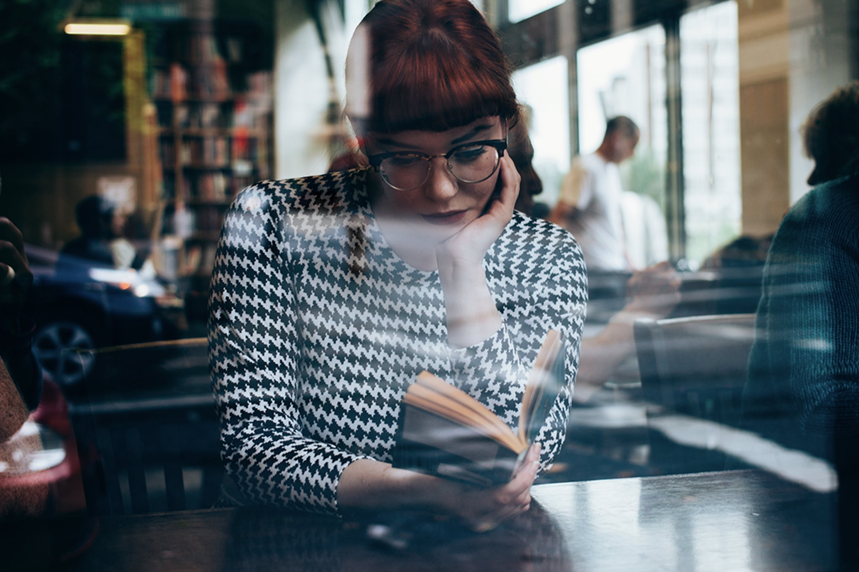 of girl, reading, red hair, reflections