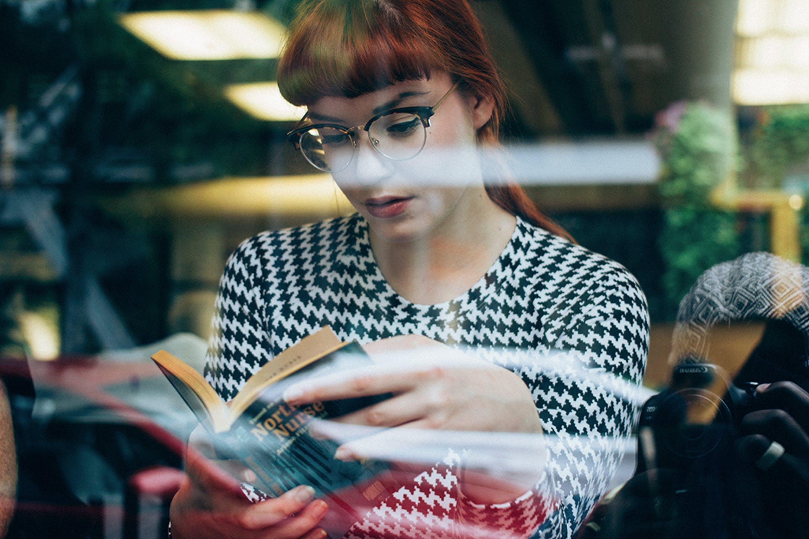 of beautiful girl, book, glasses, model