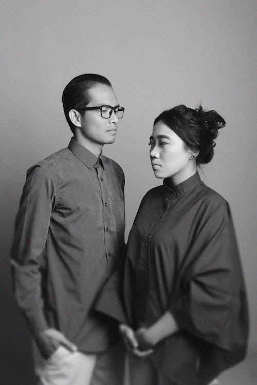 Free stock photo of asiancouple, blacknwhite, couple, photostudio