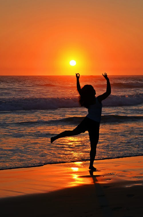 Free stock photo of dance, girl dancing on the beach at sunrise, ocean, sea