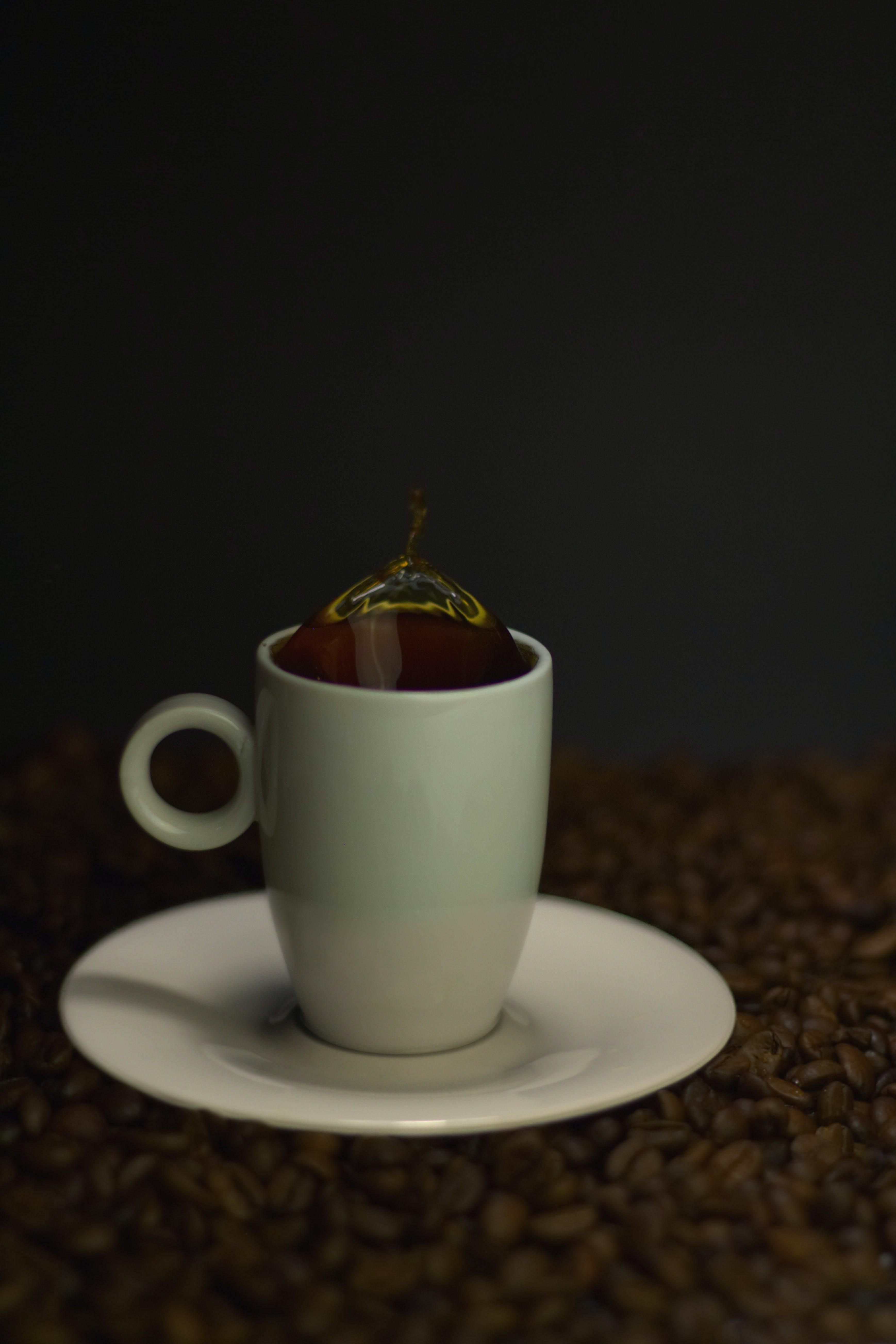 black coffee, coffee beans