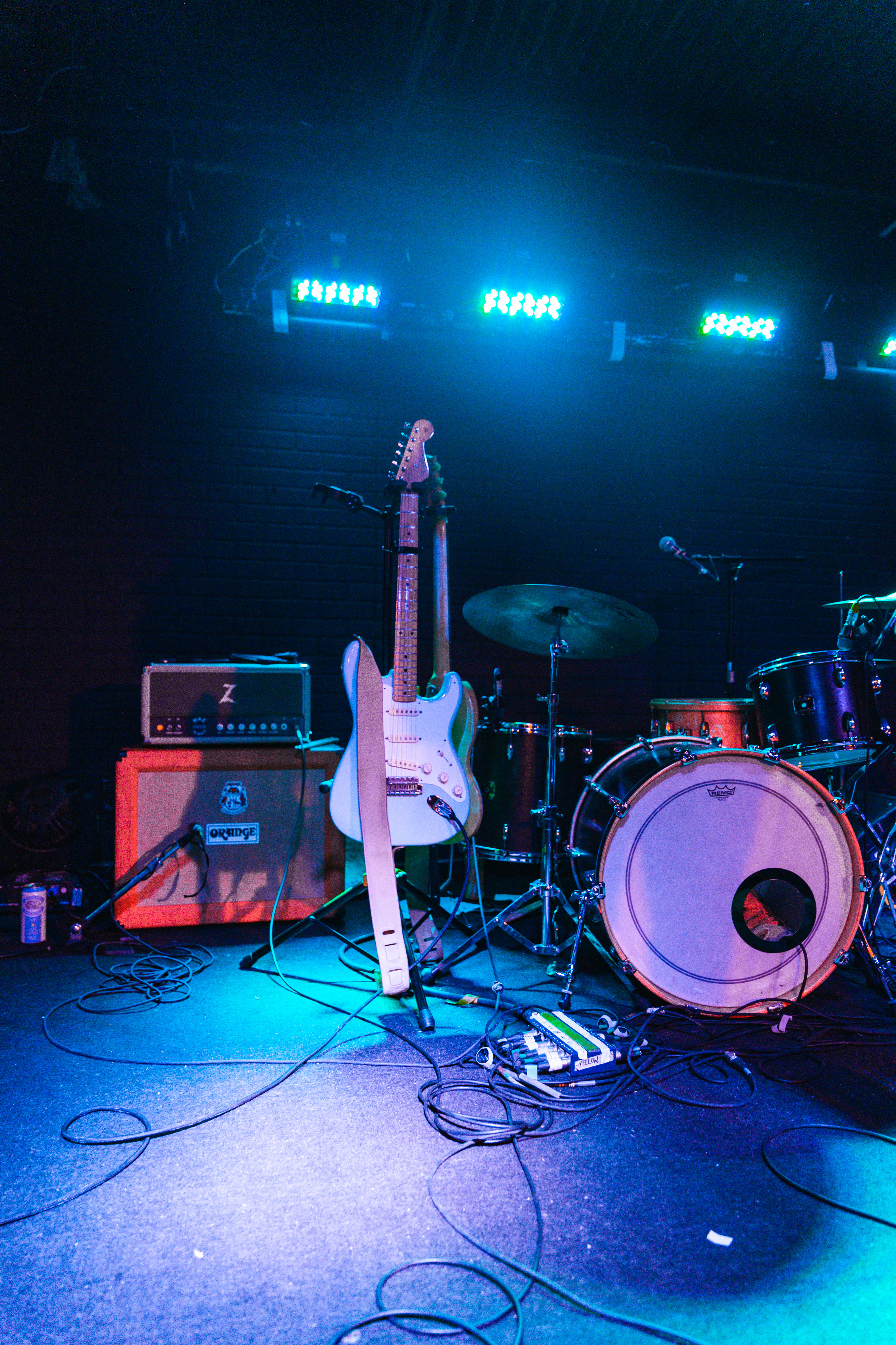 Photo of Electric Guitar and Drum Set