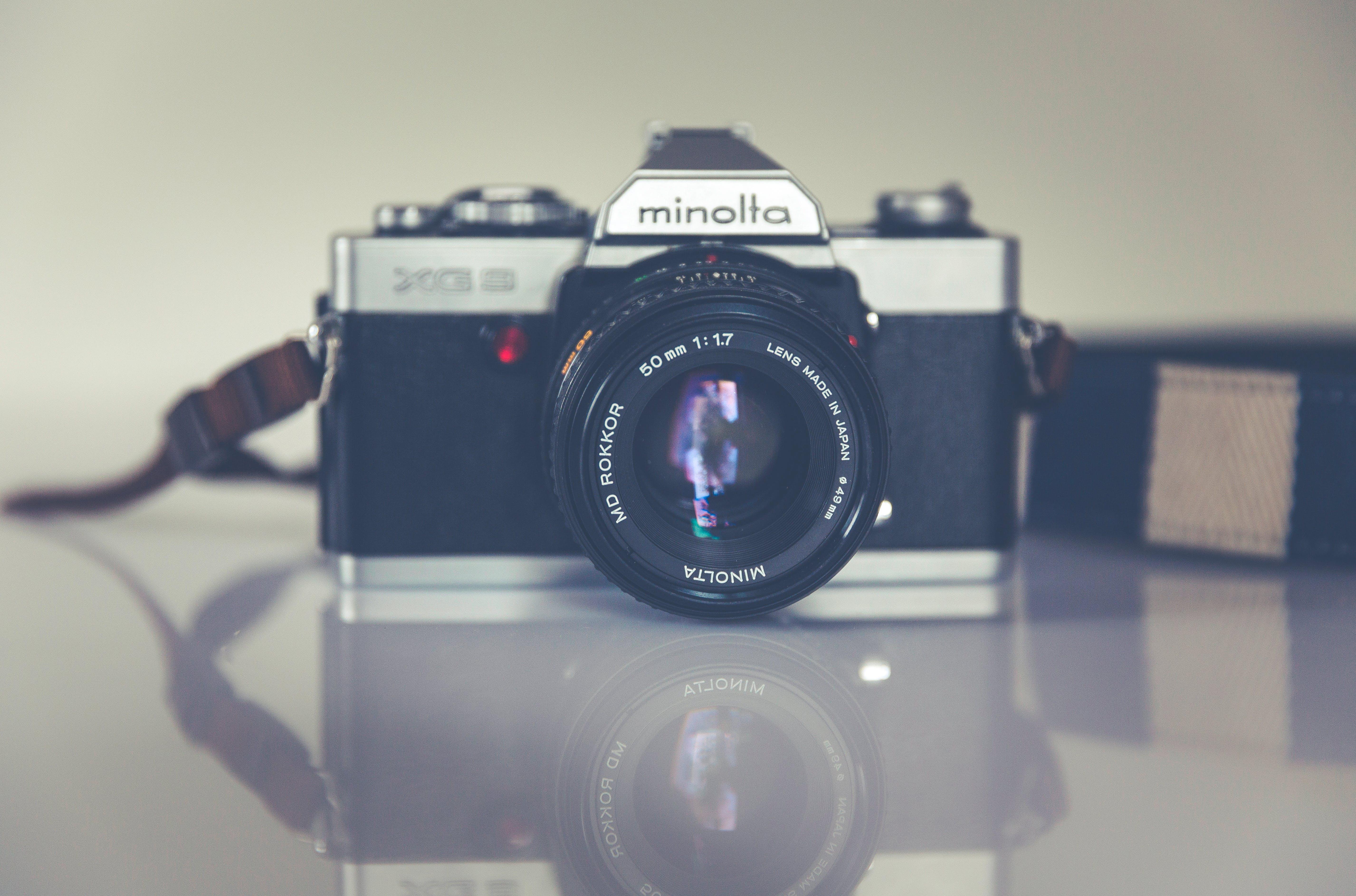 Panorama Photography of Black and Grey Minolta Camera
