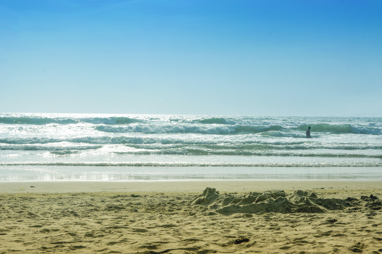 Free stock photo of beach landscape, blue sky, goa, sand beach