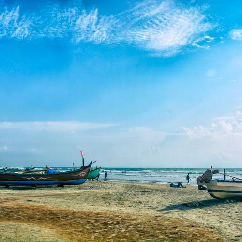 Beach Landscape With Fishermen: Free Stock Photo Of Beach Landscape, Blue Sky, Goa