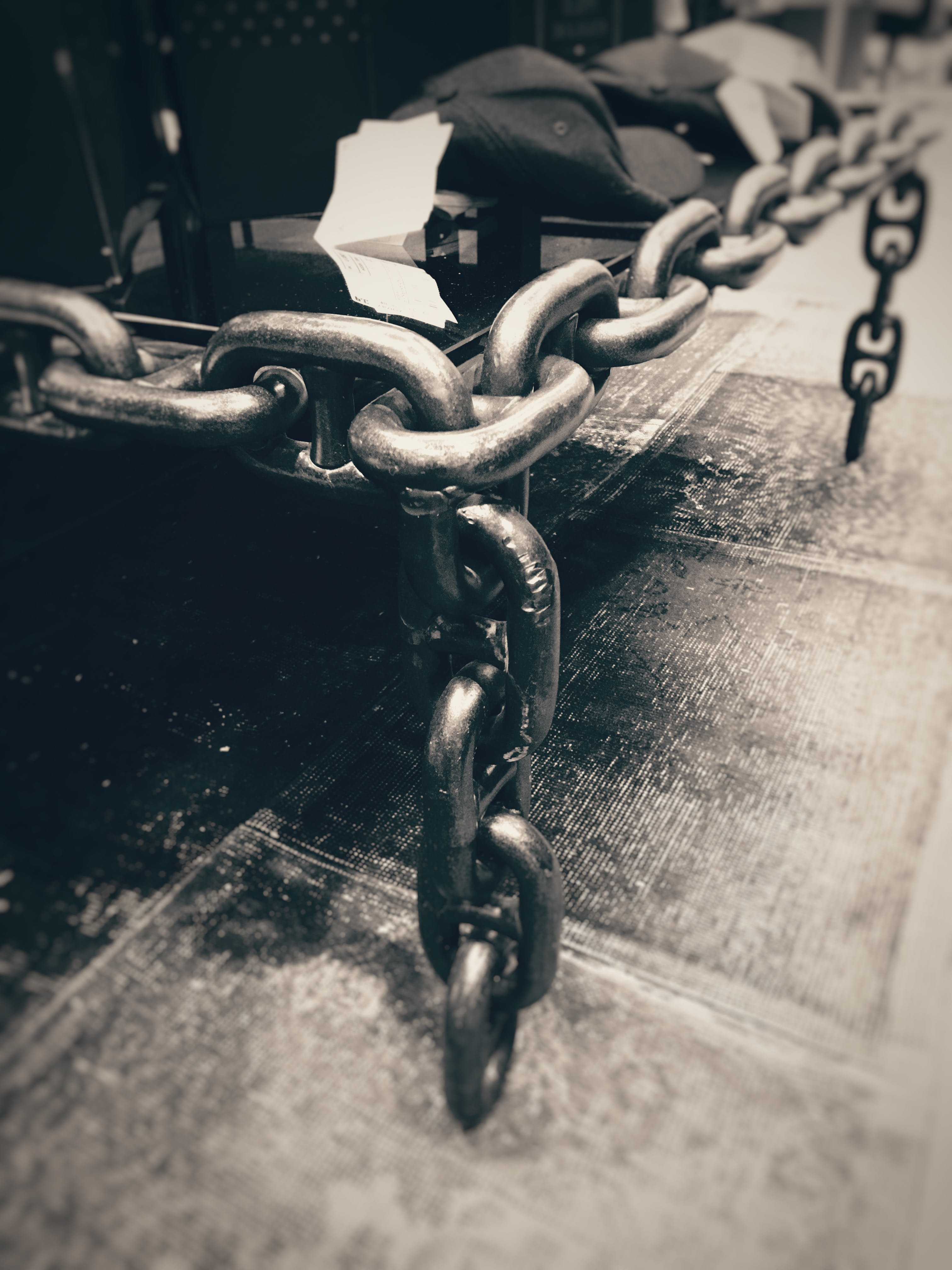 Steel Chains in Grayscale Photography