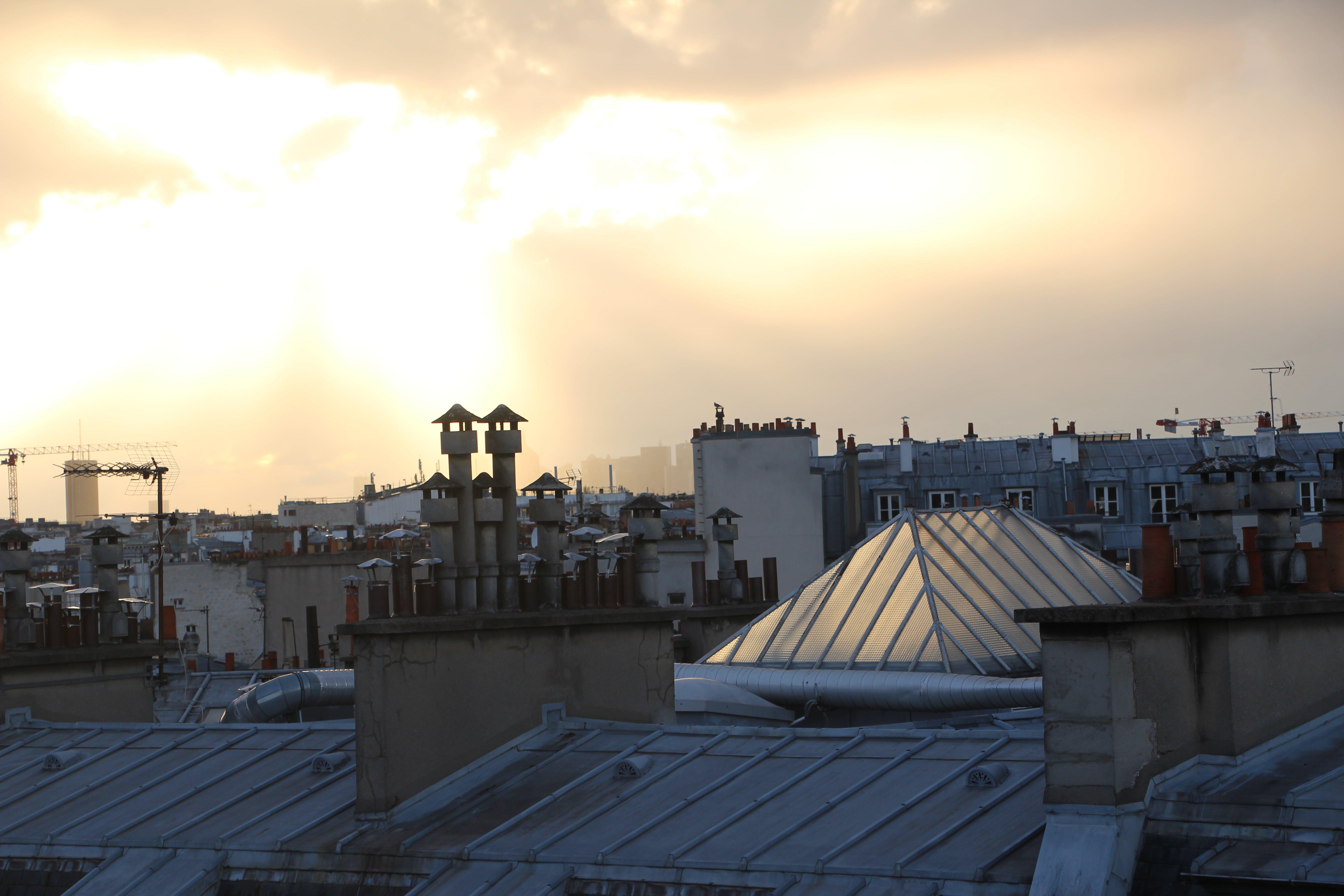 Free stock photo of chimney, city lights, golden sun, paris
