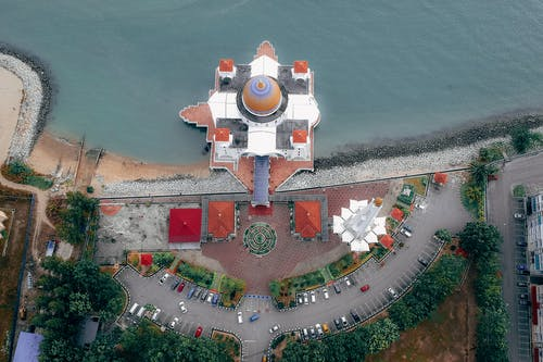 Top View of Mosque Near Body of Water
