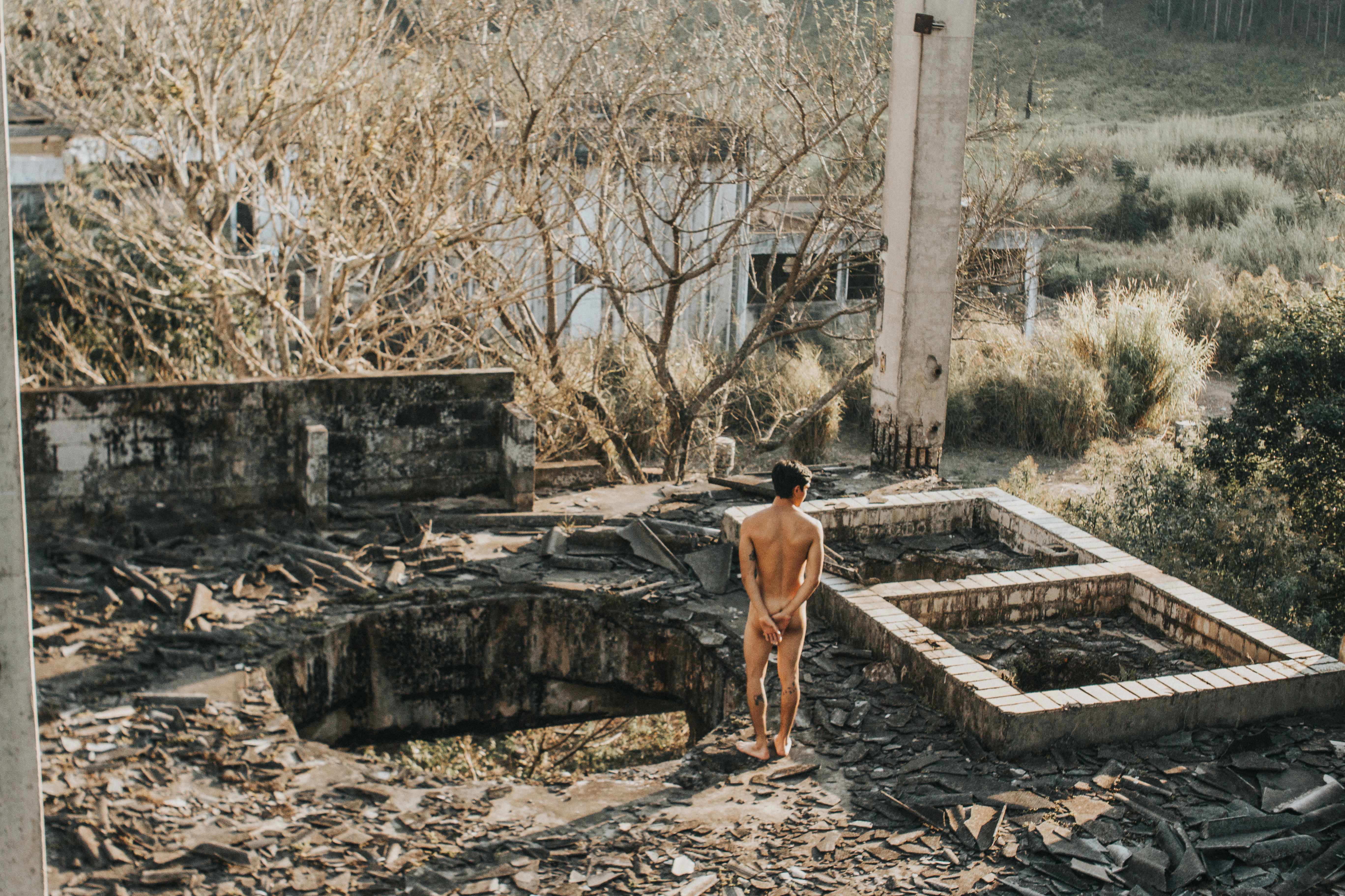 Naked Man In An Abandoned Building