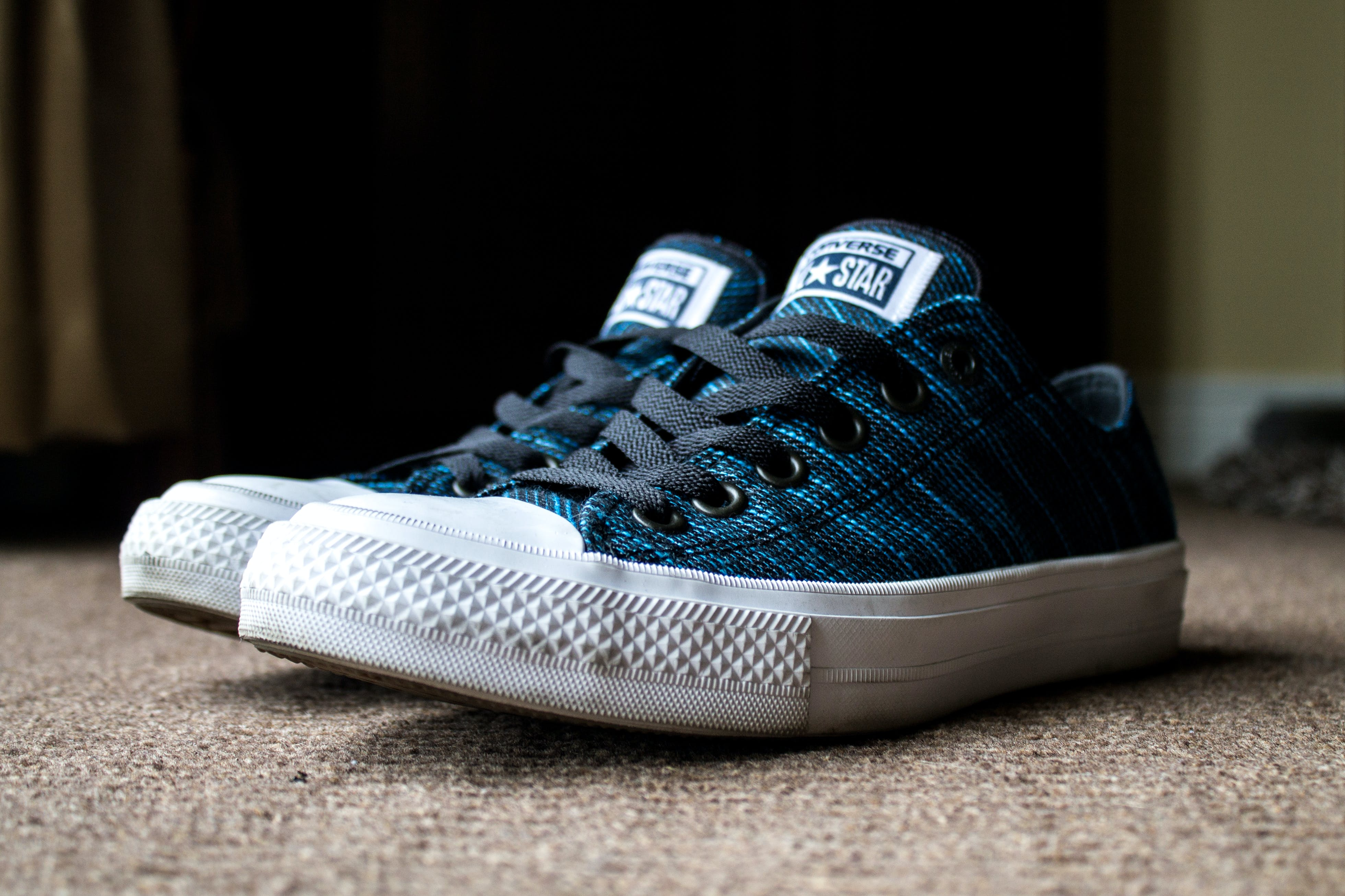 Free stock photo of black, blue, canvas shoes, converse all star