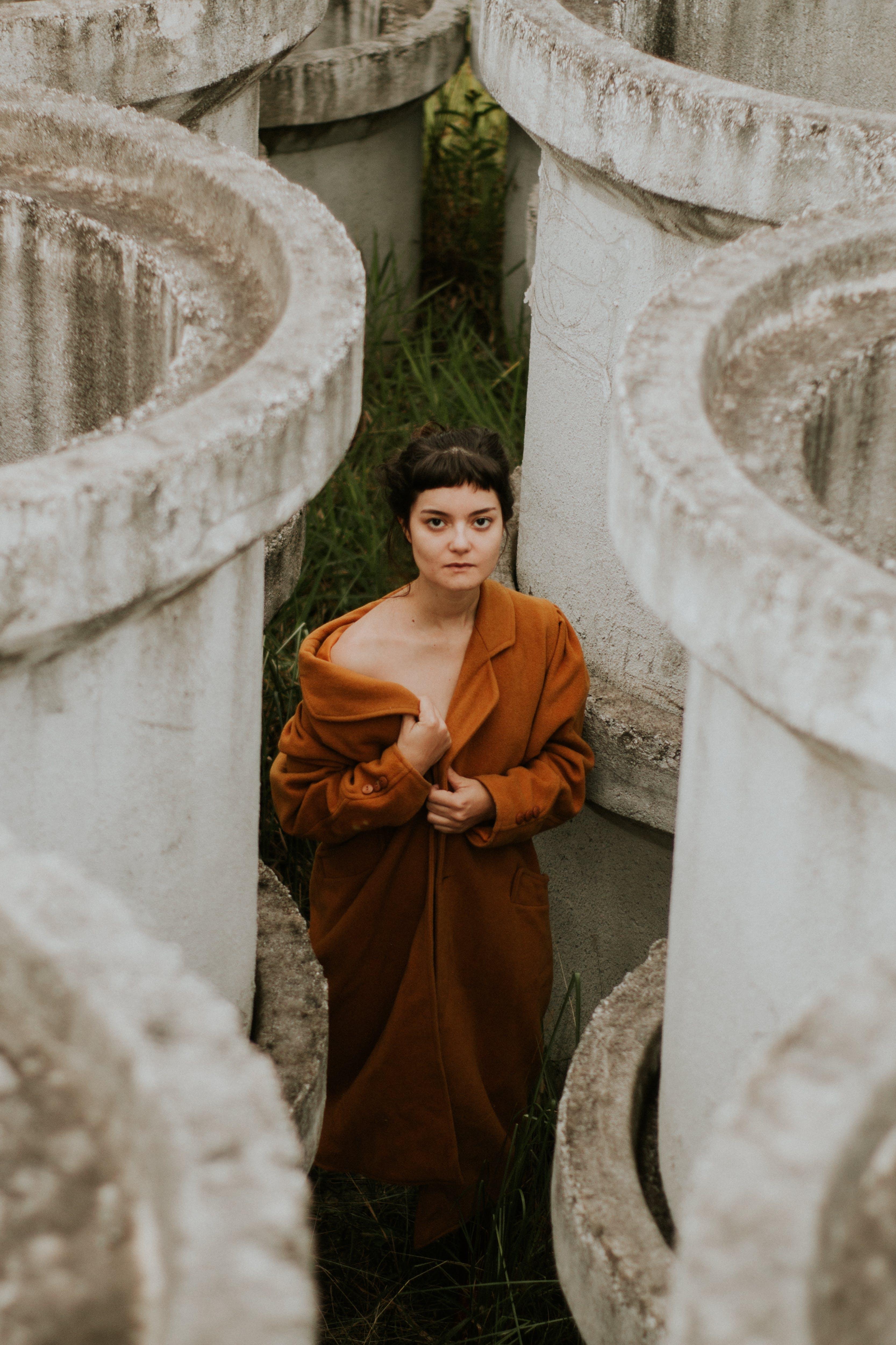 Woman Wearing Brown Collared Coat